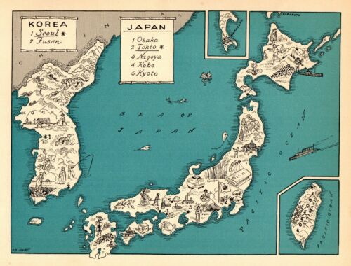 1932 Antique Animated JAPAN Map RARE Cartoon Picture Map of KOREA BLU 7282