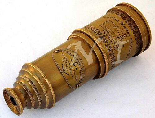 "Old Antique Victorian Marine Telescope 18"" Maritime Nautical Brass Spyglass"