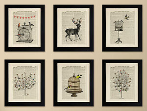 SET-OF-6-ART-PRINTS-ON-OLD-ANTIQUE-BOOK-PAGE-Birds-Deer-Vintage-Upcycled