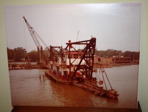 A Industrial Barge Ship View Vtg Color Photo MCM Erie Pennsylvania Canal Crane