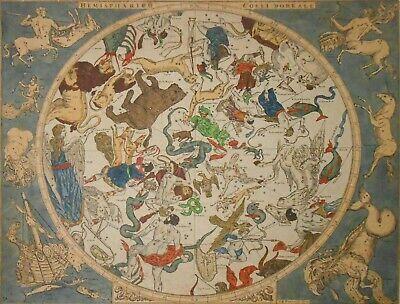 RARE 1710 HEMISPHAERIUM COELI BOREALE, ITALY I B HOMANNI CELESTIAL HAND CLRD MAP