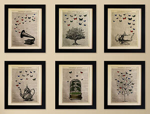 SET-OF-6-ART-PRINTS-ON-OLD-ANTIQUE-BOOK-PAGE-Butterflies-Teapot-Tree-Vintage