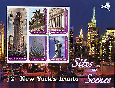 Gambia 2016 MNH New York Iconic Sites NY2016 5v M/S Statue of Liberty Stamps