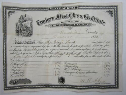 Antique Iowa State Teacher Certificate Poweshiek County Eliza Bush 1879