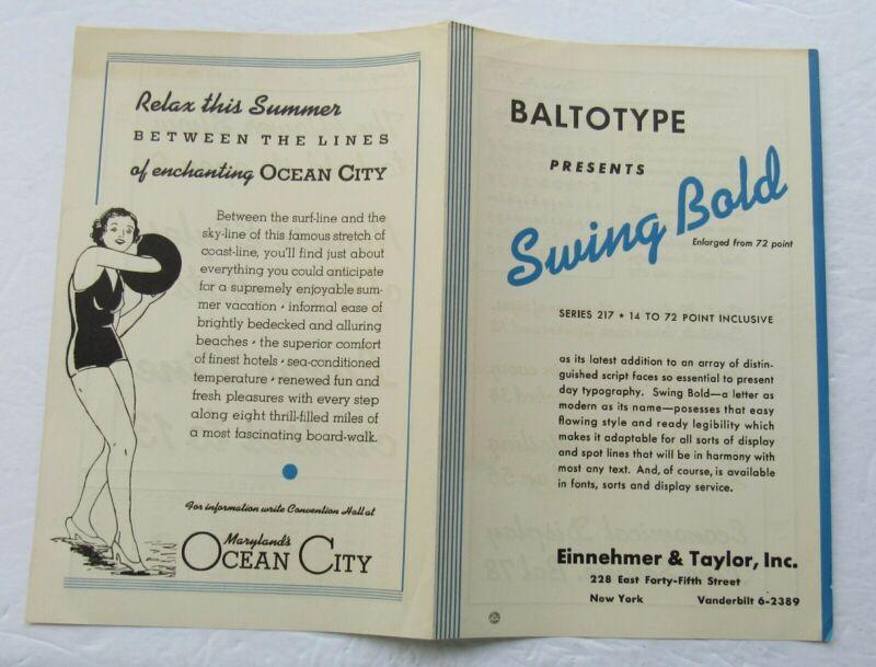 Letterpress Type  Specimen Booklet For Baltotype Swing Bold