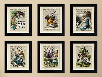 SET OF 6 MOUNTED ART PRINTS ON OLD ANTIQUE BOOK PAGE, Alice in Wonderland