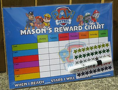 Childrens Behaviour Reward Chart - PAW PATROL - Gift Packaging / Stickers / Pen
