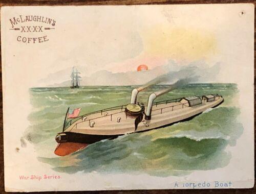 Vintage Mclaughlins Coffee Victorian Trade Card Torpedo Boat Chicago War Ship