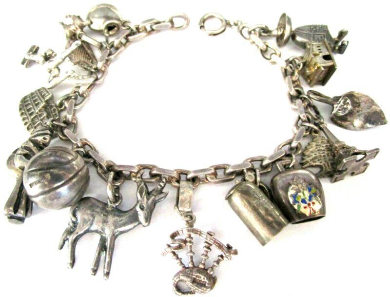 Sterling Silver 925 Vintage Charm Bracelet