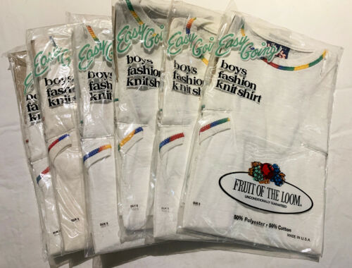 6 Vintage 70s Fruit of the Loom T Shirt NOS White Rainbow Youth Sm Lot Kids DS