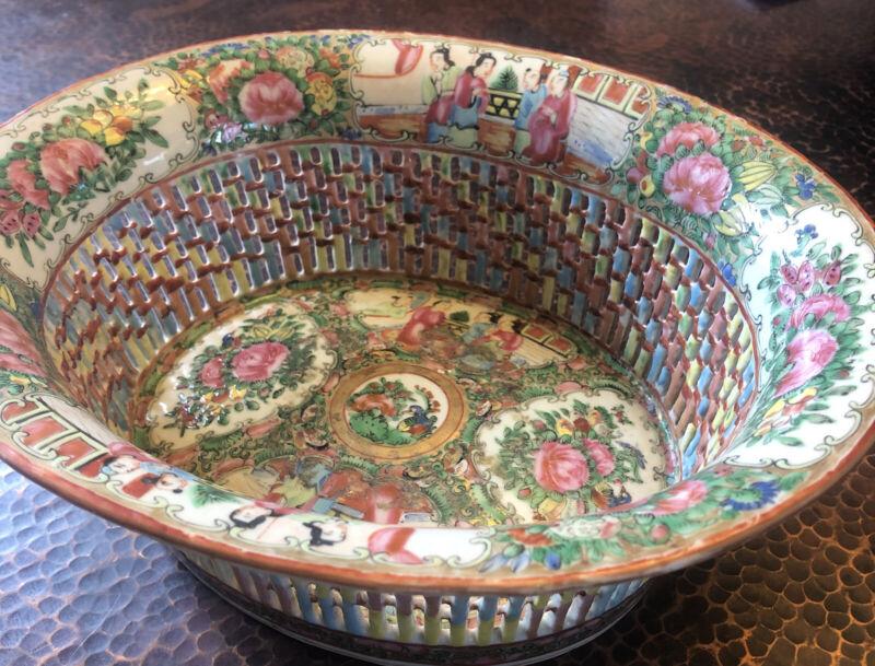 Antique Rose Medallion Export  Famille Rose Porcelain Pierced Bread Basket