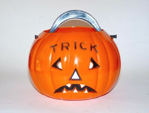 Vintage Union Products 1950s Halloween Hard Plastic Jack O Lantern Bucket 8""