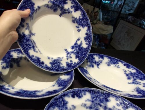 """FOUR (4) FLOW BLUE TRANSFERWARE 10 1/2"""" DINNER PLATES China DISHES VINTAGE"""