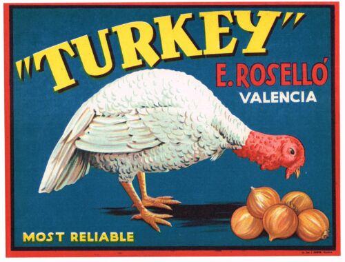 ORIGINAL ONION CRATE LABEL SPANISH SPAIN VINTAGE TURKEY VALENCIA 1940S ROSELLO