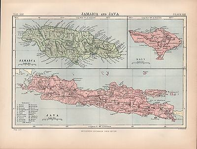 1880 ca ANTIQUE MAP-ISLANDS, JAMAICA, JAVA, BALI