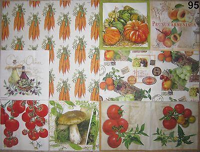 4 SERVIETTEN, Pfirsich Tomate Kürbis Mohrüben Oliven Pilz Apfel Wein Mandarine