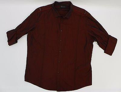INC Mens Shirt Roll Tab Long Sleeve Button Up Tango Red Dark Red Shirt 2XL JH604
