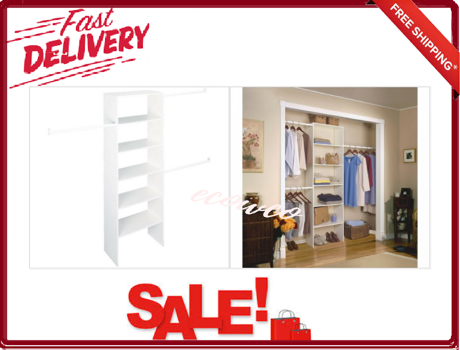 White ClosetMaid 160800 Fixed Mount 5 to 8 Foot Wide Closet System Kit