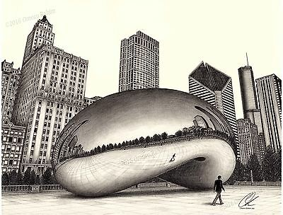The Bean with Chicago skyline pencil drawing by Omoro Rahim