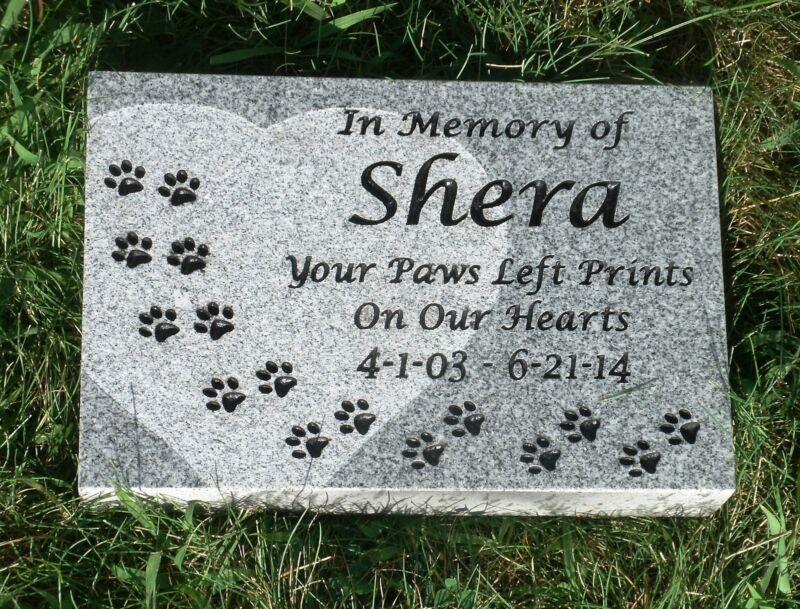 "Personalized pet memorial headstone grave marker 12 x 8"" custom engraved granite"