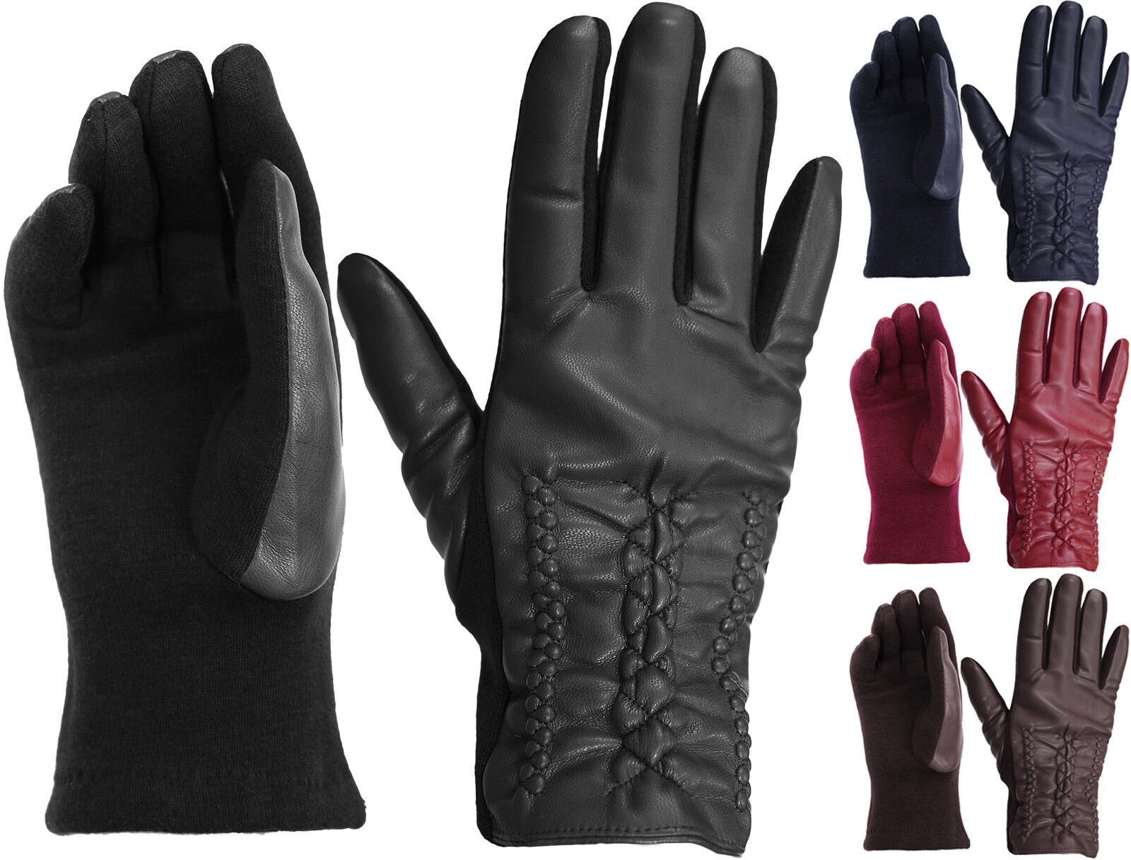 Womens Chick Cotton Leather Front Plaited Winter Gloves Clothing, Shoes & Accessories