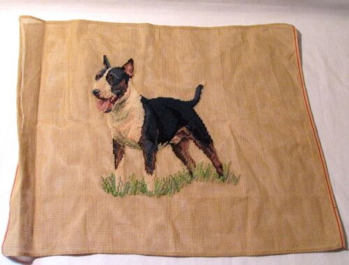 Vintage Needlepoint Canvas With STAFFORDSHIRE BULL TERRIER Preworked Design
