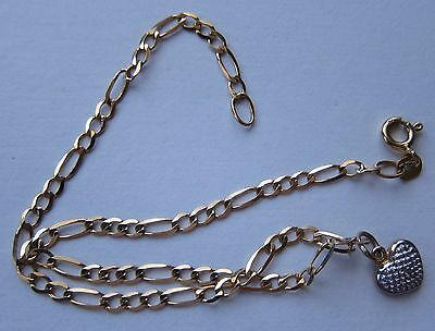 9K ygold ANKLET WITH TINY DIAMOND ON HEART CHARM 9 INCHES UNUSE  QVC very rare