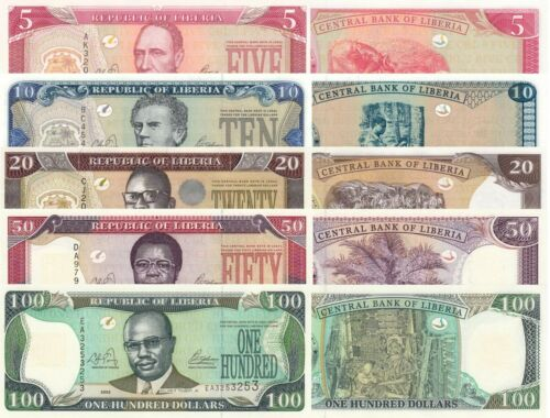 Liberia 5 Note Set: 5 to 100 Dollars (2003) p26a, 27a, 28a, 29a and 30a UNC