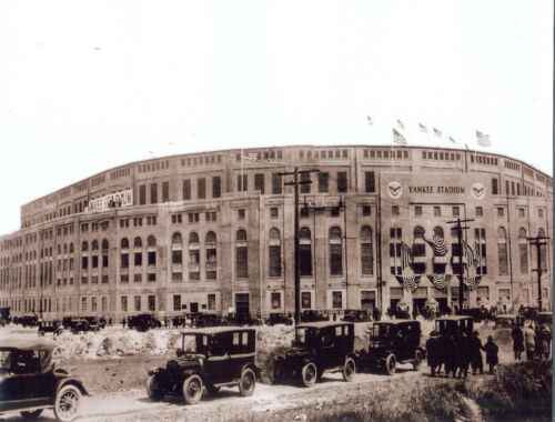 Great vintage 10x8 sepia  photo of Old Yankee Stadium Opening Day 1923 Ruth HR