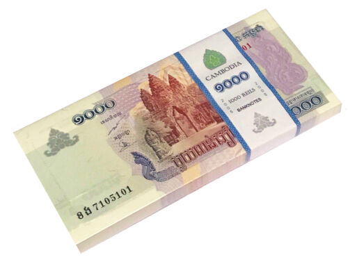 CAMBODIA 1000 RIELS 2005 P 58 UNC BUNDLE OF (100 NOTES)