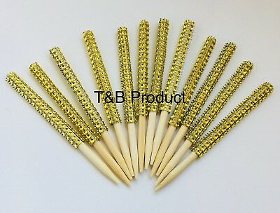 12  Bling Candy Apple Sticks Gold Rhinestone Candy Apple - Gold Candy Apples