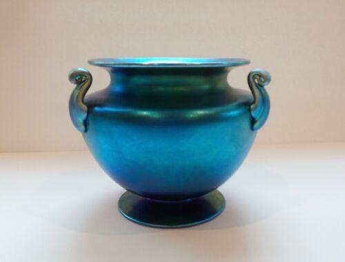 Steuben Blue Aurene Iridescent Art Glass Vase, Carder Era Mint!