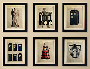 SET-OF-6-ART-PRINTS-ON-OLD-ANTIQUE-BOOK-PAGE-Dr-Who-Tardis-Dalek-Cyberman