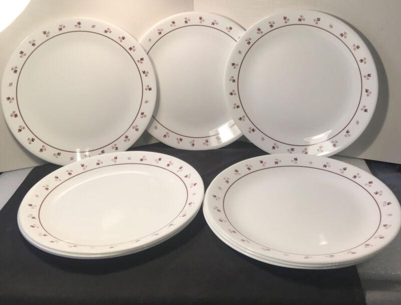 "9 Vintage Corelle Burgundy Rose Dinner Plates 10 1/4"""