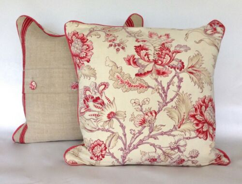 Stunning 19th Century French Indienne Printed Cotton & Linen Pillow 2 Available