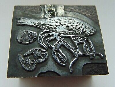 Printing Letterpress Printers Block Seafood Fish Shrimp.......