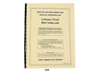 Sears Craftsman 12 Metal Lathe Parts List 101.27430 101.27440 Manual 1058