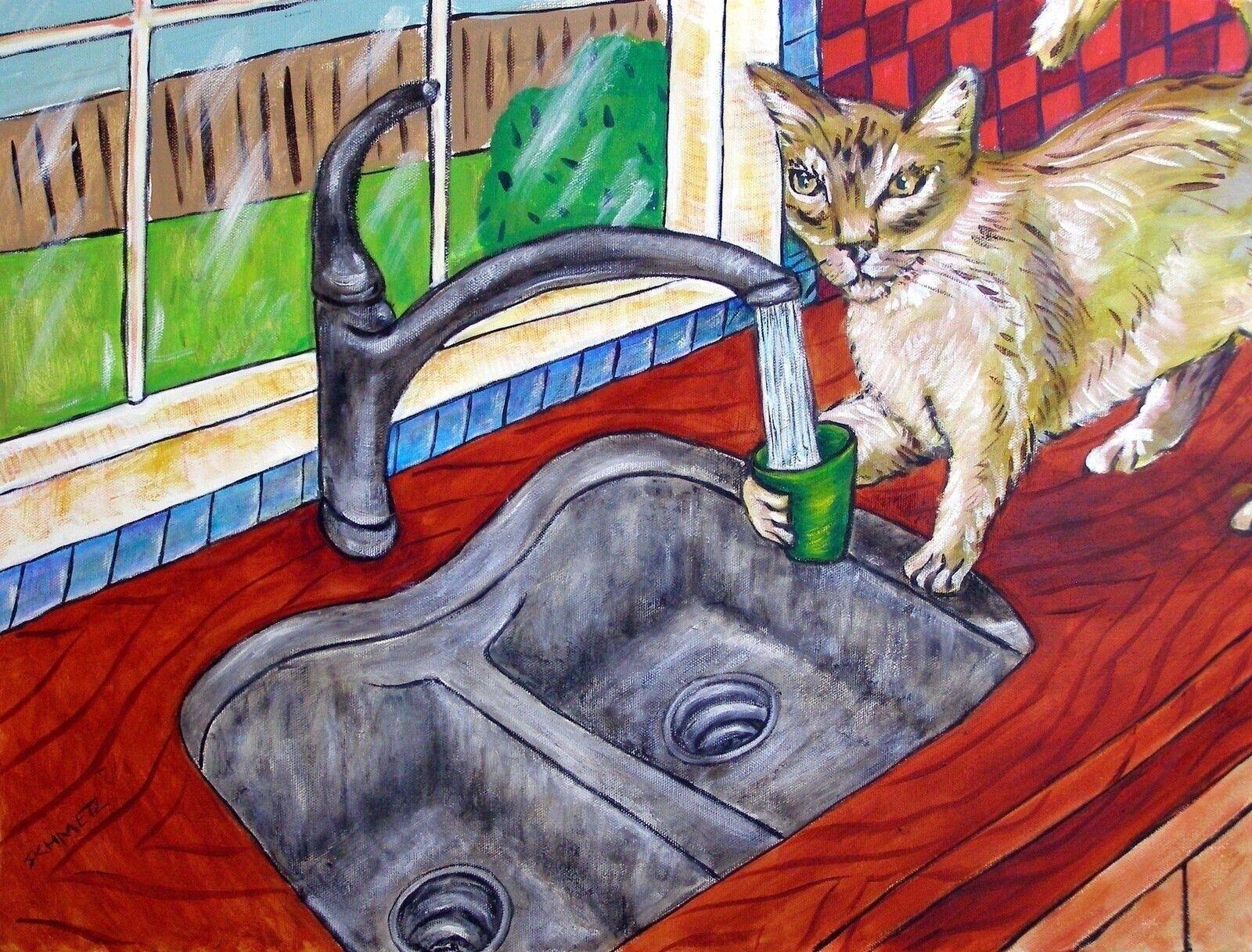 cat  art print impressionism bathroom 13x19 gift new modern artist