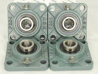 4 Stück Gehäuse (4 Stück UCF204 Flanschlagergehäuse UCF 204 Flanschlager 4-Loch 20 mm Welle)