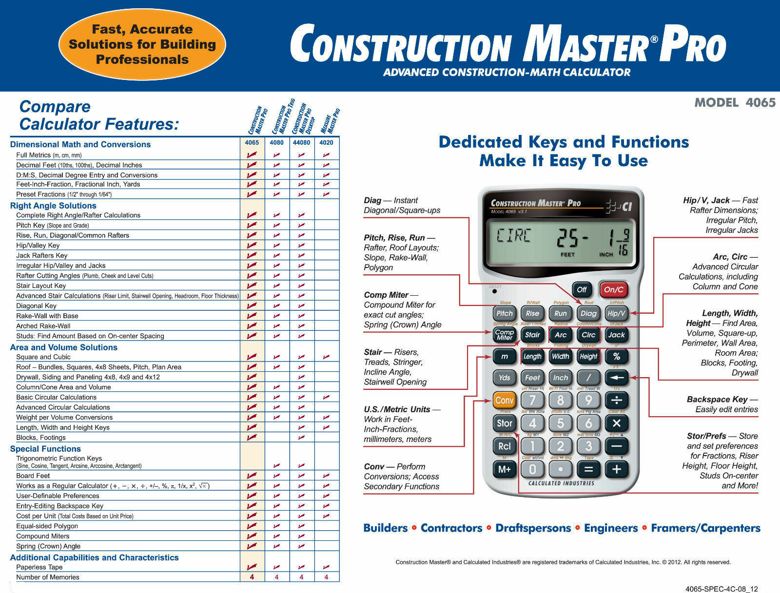 Produs calculated industries construction master pro for New construction calculator
