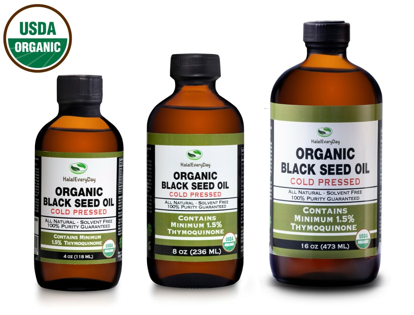 Black Seed Oil - USDA Organic 100% Pure COLD PRESSED Cumin Nigella Sativa GLASS