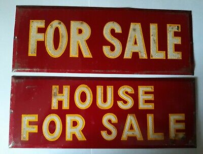 Vintage LOT 2 Red Reflective Letters Metal Signs For Sale & House For Sale