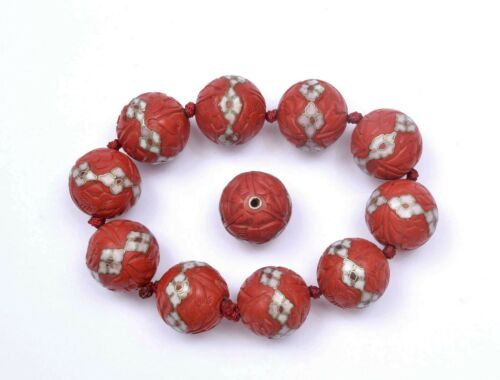 Vintage Chinese Cinnabar Lacquer Cloisonne Enamel Inlay 19.6mm Bead Bracelet