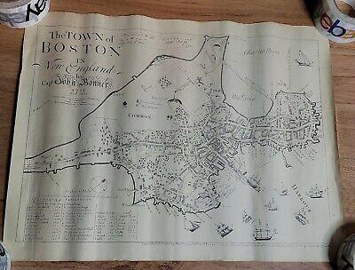 Vintage Reproduction - Captain John Bonner's 1722 Map of Boston Massachusetts