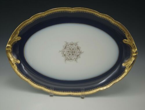 ANTIQUE POUYAT LIMOGES COBALT GOLD ENCRUSTED SERVING PLATTER
