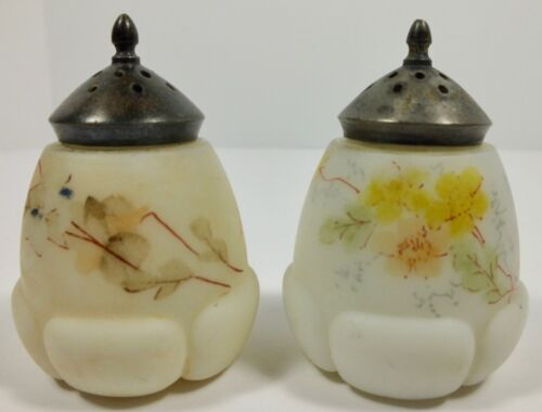 Antique Mt. Washington Glass Egg In Blossom Salt & Pepper Shakers Hand Decorated