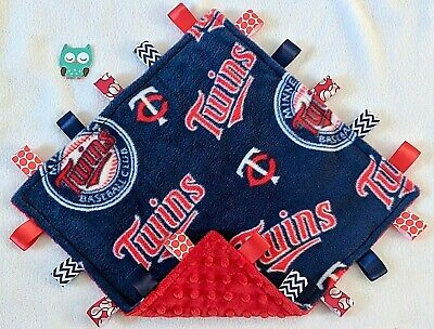 Minky Baby Toddler Blanket - Minnesota Twins Fleece & Red Minky Tag Taggie Security Blanket, Baby, Toddler