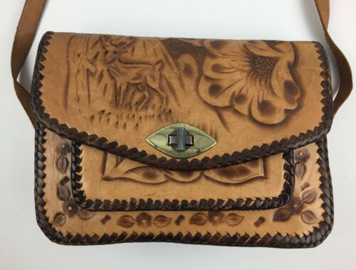 Vintage Mexico Hand Tooled Leather Purse Deer Flower Tan
