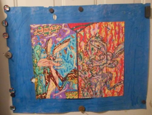 Vintage Original Black Light Art Drawing Poster of WILE E. COYOTE®