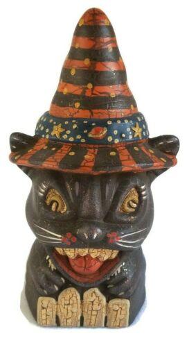 Vintage Style Scary Halloween Decoration Ceramic Cat Head Decor